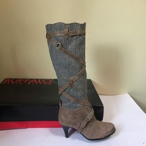 Buffalo NEW Tall Leather Wool Boots Buckles Zipper Straps Heels David Bitton 7.5